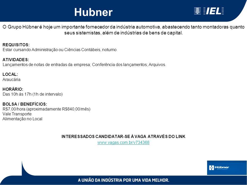 Hubner O Grupo Hübner é hoje um importante fornecedor da indústria automotiva, abastecendo tanto montadoras quanto seus sistemistas, além de indústrias de bens de capital.