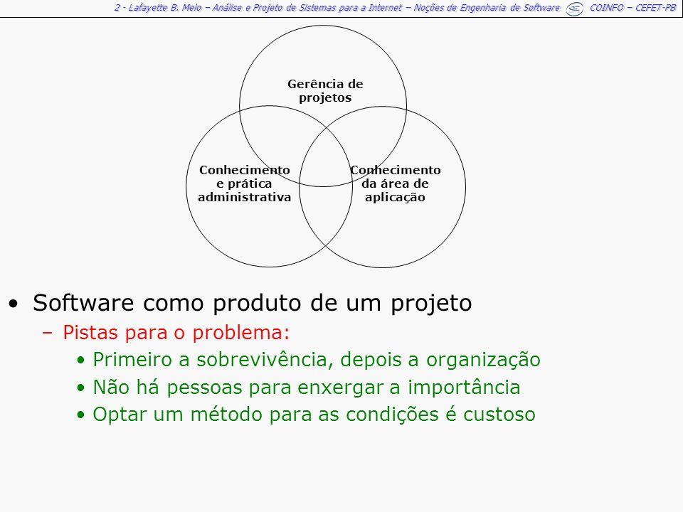 2 - Lafayette B. Melo – Análise e Projeto de Sistemas para a Internet – Noções de Engenharia de Software COINFO – CEFET-PB Software como produto de um