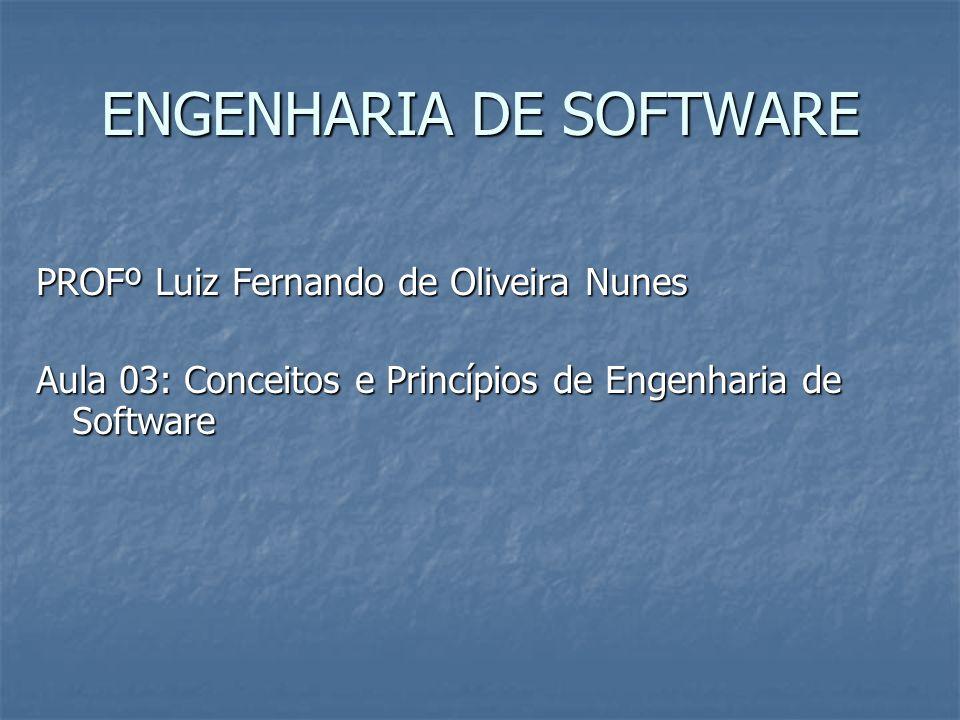 ENGENHARIA DE SOFTWARE PROFº Luiz Fernando de Oliveira Nunes Aula 03: Conceitos e Princípios de Engenharia de Software