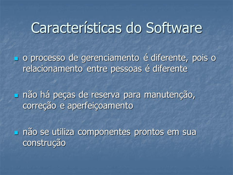 Características do Software o processo de gerenciamento é diferente, pois o relacionamento entre pessoas é diferente o processo de gerenciamento é dif