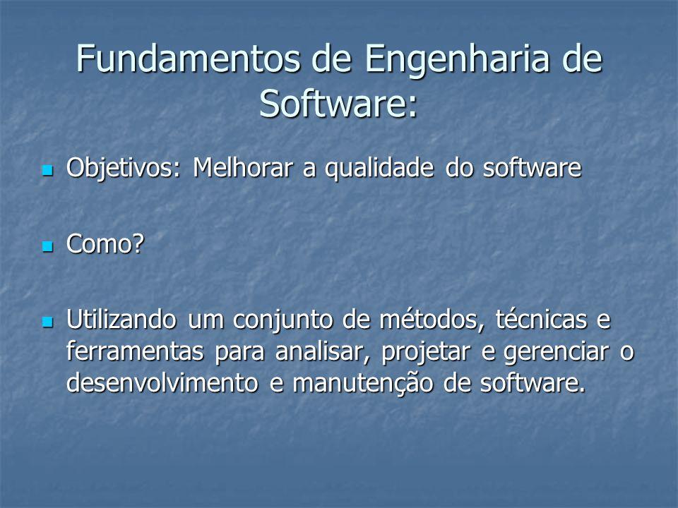 Fundamentos de Engenharia de Software: Objetivos: Melhorar a qualidade do software Objetivos: Melhorar a qualidade do software Como? Como? Utilizando