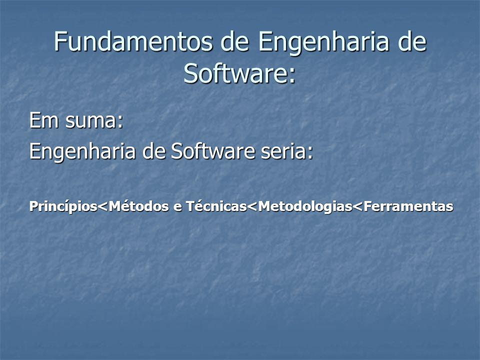 Fundamentos de Engenharia de Software: Em suma: Engenharia de Software seria: Princípios<Métodos e Técnicas<Metodologias<Ferramentas