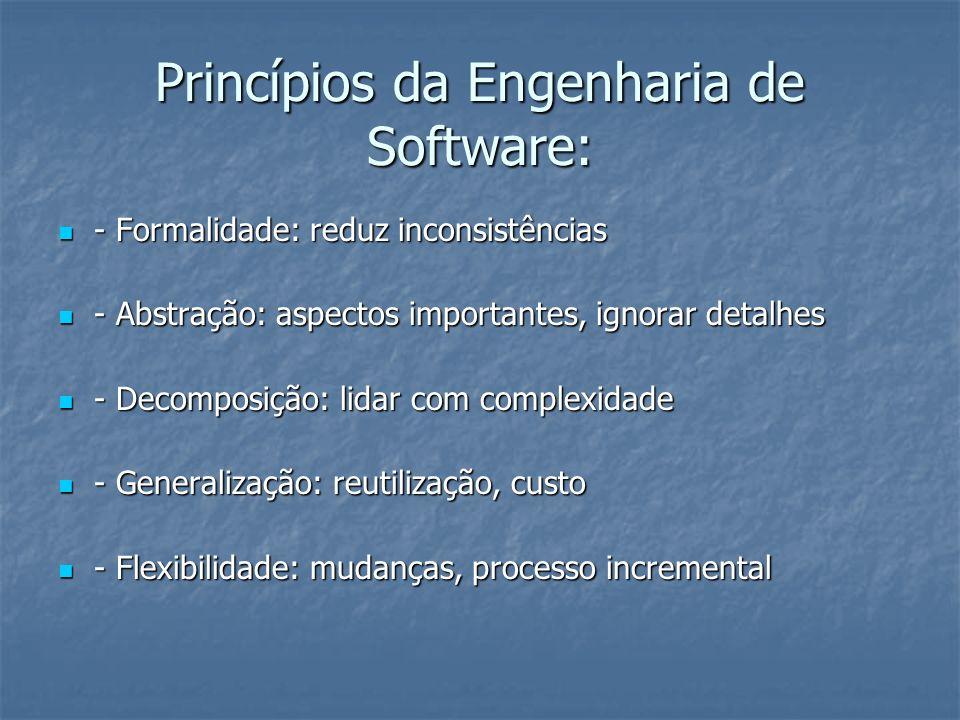Princípios da Engenharia de Software: - Formalidade: reduz inconsistências - Formalidade: reduz inconsistências - Abstração: aspectos importantes, ign