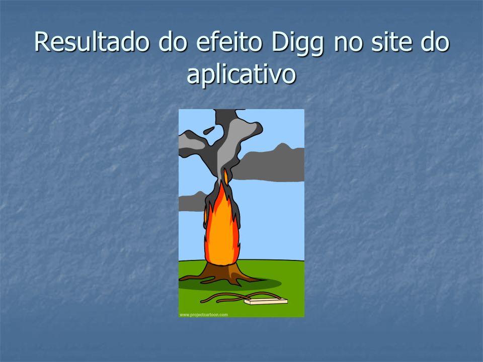 Resultado do efeito Digg no site do aplicativo
