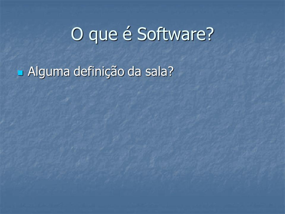 O que é Software? Alguma definição da sala? Alguma definição da sala?