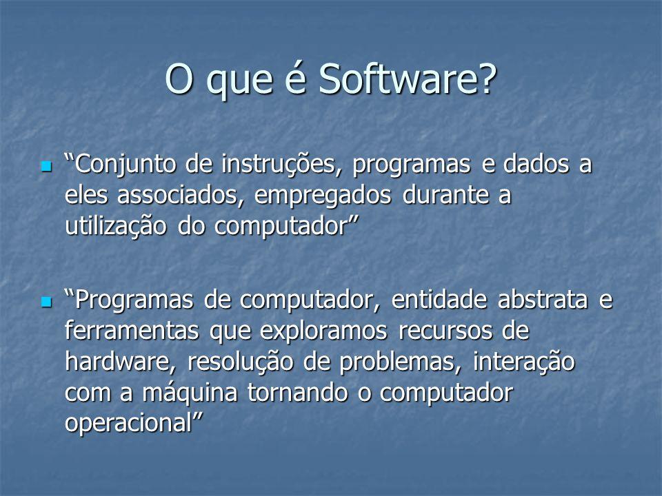 O que é Software? Conjunto de instruções, programas e dados a eles associados, empregados durante a utilização do computador Conjunto de instruções, p