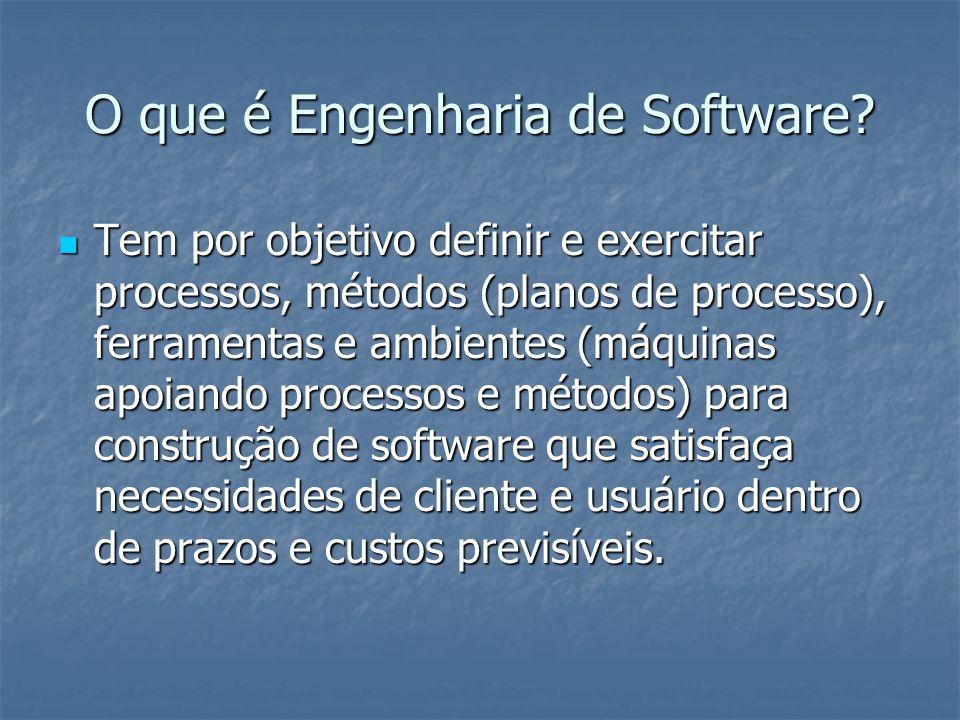 O que é Engenharia de Software? Tem por objetivo definir e exercitar processos, métodos (planos de processo), ferramentas e ambientes (máquinas apoian