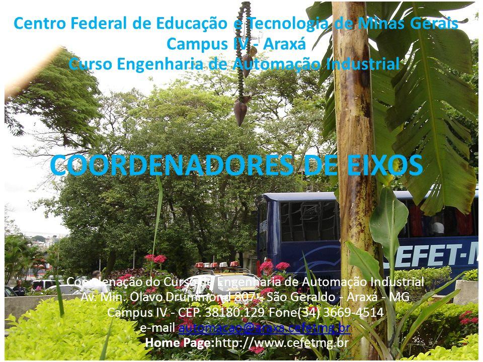 Centro Federal de Educação e Tecnologia de Minas Gerais Campus IV - Araxá Curso Engenharia de Automação Industrial COORDENADORES DE EIXOS Coordenação do Curso de Engenharia de Automação Industrial Av.