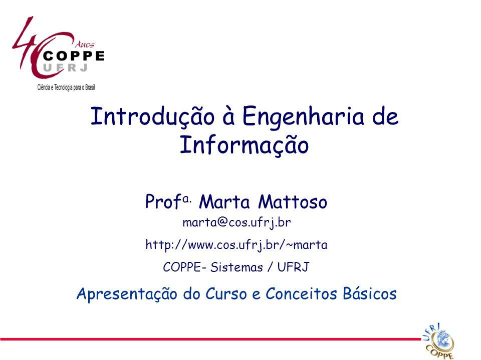 © 2007 Marta Mattoso 2 Roteiro Introdução Conceitos principais Caracterização de Engenharia da Informação Apresentação do funcionamento do curso