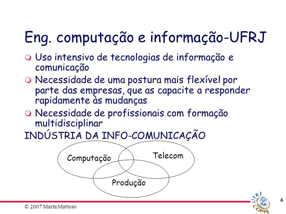 © 2007 Marta Mattoso 17 Grade Optativas - Eng.CI -UFRJ POLI (cont.): Tóp.