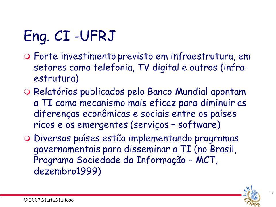 © 2007 Marta Mattoso 18 Dinâmica do curso - aulas Aulas com seminários convidados sobre os temas da ECI de modo aprofundado.