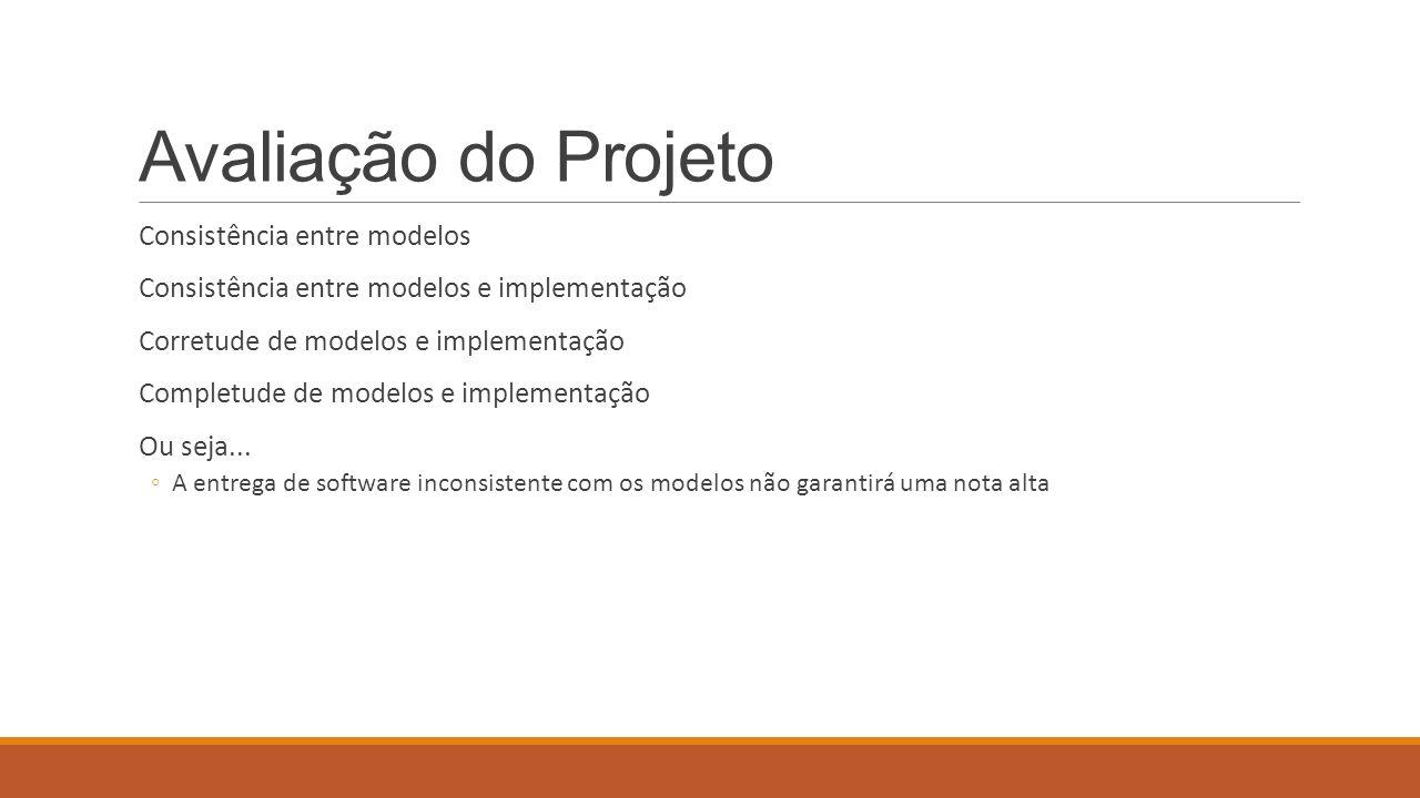Avaliação do Projeto Consistência entre modelos Consistência entre modelos e implementação Corretude de modelos e implementação Completude de modelos e implementação Ou seja...