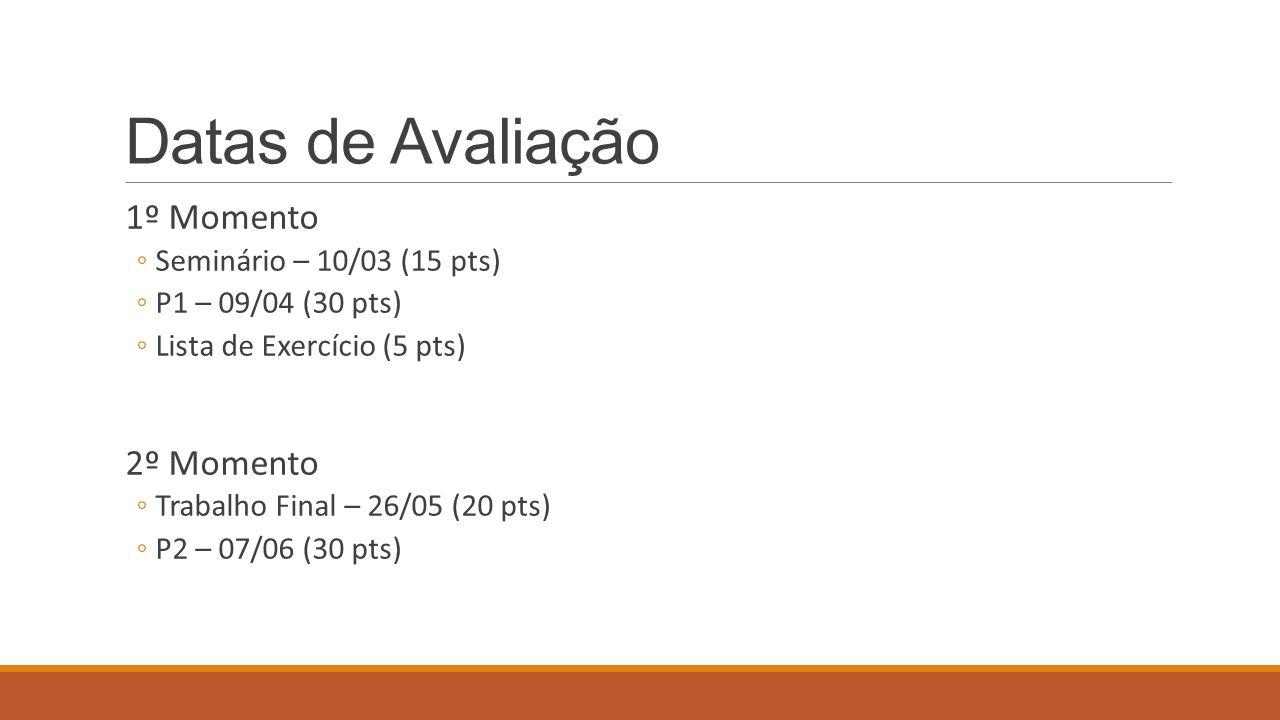 Datas de Avaliação 1º Momento Seminário – 10/03 (15 pts) P1 – 09/04 (30 pts) Lista de Exercício (5 pts) 2º Momento Trabalho Final – 26/05 (20 pts) P2 – 07/06 (30 pts)