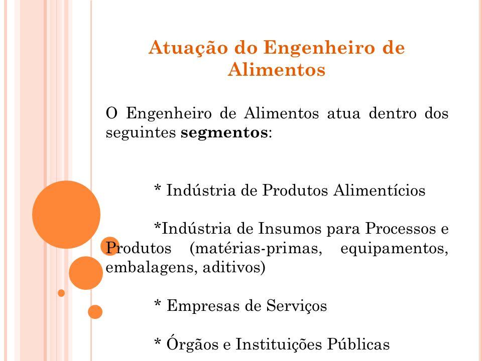 Atuação do Engenheiro de Alimentos O Engenheiro de Alimentos atua dentro dos seguintes segmentos : * Indústria de Produtos Alimentícios *Indústria de