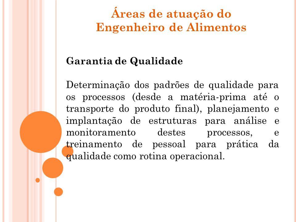 Áreas de atuação do Engenheiro de Alimentos Garantia de Qualidade Determinação dos padrões de qualidade para os processos (desde a matéria-prima até o
