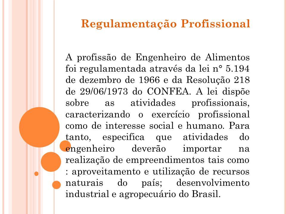 Regulamentação Profissional A profissão de Engenheiro de Alimentos foi regulamentada através da lei n° 5.194 de dezembro de 1966 e da Resolução 218 de