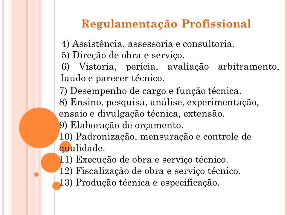 Regulamentação Profissional 4) Assistência, assessoria e consultoria. 5) Direção de obra e serviço. 6) Vistoria, perícia, avaliação arbitramento, laud