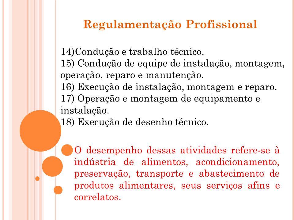 Regulamentação Profissional 14)Condução e trabalho técnico. 15) Condução de equipe de instalação, montagem, operação, reparo e manutenção. 16) Execuçã