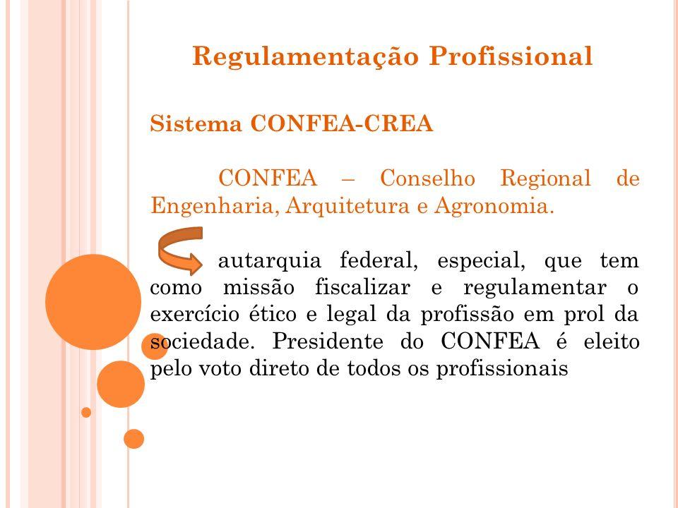 Regulamentação Profissional Sistema CONFEA-CREA CONFEA – Conselho Regional de Engenharia, Arquitetura e Agronomia. autarquia federal, especial, que te