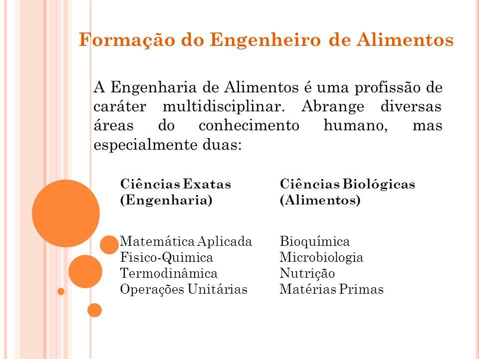Formação do Engenheiro de Alimentos A Engenharia de Alimentos é uma profissão de caráter multidisciplinar. Abrange diversas áreas do conhecimento huma