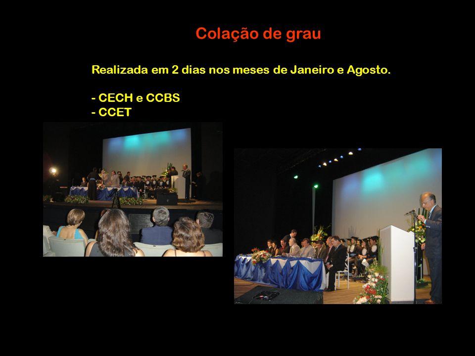Colação de grau Realizada em 2 dias nos meses de Janeiro e Agosto. - CECH e CCBS - CCET