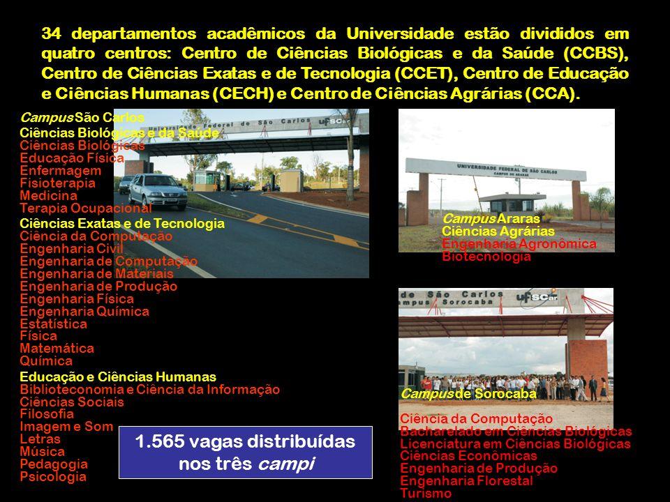 34 departamentos acadêmicos da Universidade estão divididos em quatro centros: Centro de Ciências Biológicas e da Saúde (CCBS), Centro de Ciências Exa