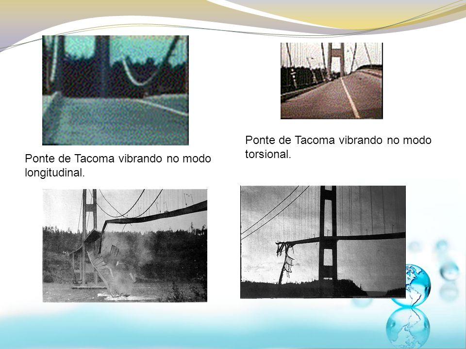 Ponte de Tacoma vibrando no modo longitudinal. Ponte de Tacoma vibrando no modo torsional.