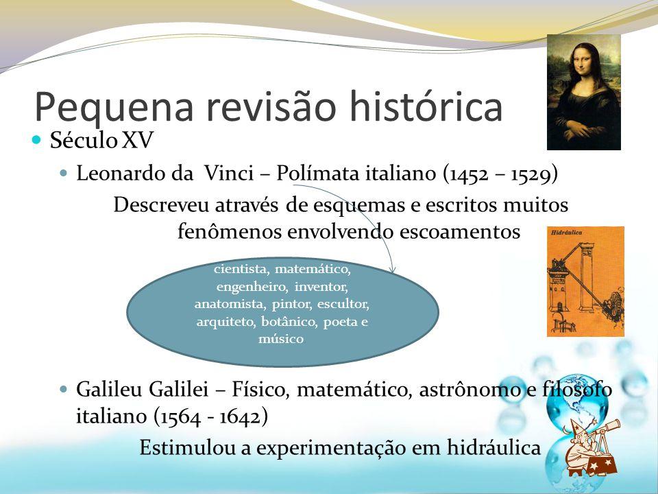 Pequena revisão histórica Século XV Leonardo da Vinci – Polímata italiano (1452 – 1529) Descreveu através de esquemas e escritos muitos fenômenos envo