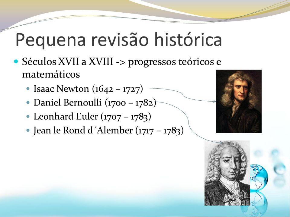 Pequena revisão histórica Séculos XVII a XVIII -> progressos teóricos e matemáticos Isaac Newton (1642 – 1727) Daniel Bernoulli (1700 – 1782) Leonhard
