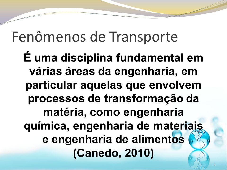 Fenômenos de Transporte 4 É uma disciplina fundamental em várias áreas da engenharia, em particular aquelas que envolvem processos de transformação da