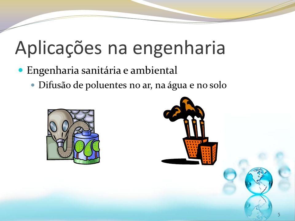 Aplicações na engenharia Engenharia sanitária e ambiental Difusão de poluentes no ar, na água e no solo 5