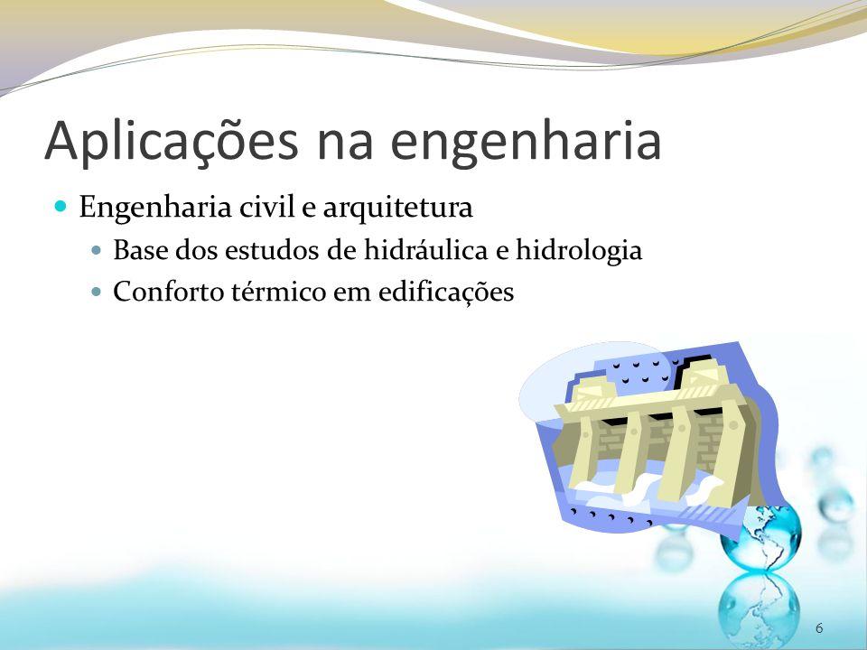 Aplicações na engenharia Engenharia civil e arquitetura Base dos estudos de hidráulica e hidrologia Conforto térmico em edificações 6