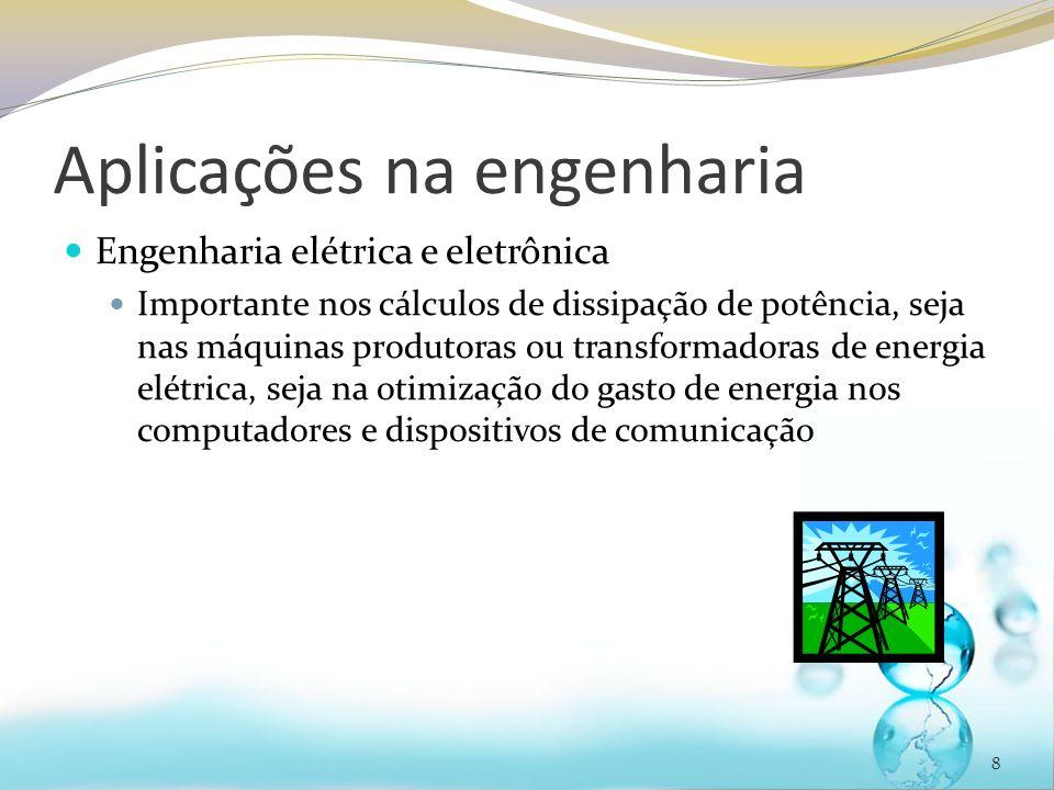Aplicações na engenharia Engenharia elétrica e eletrônica Importante nos cálculos de dissipação de potência, seja nas máquinas produtoras ou transform