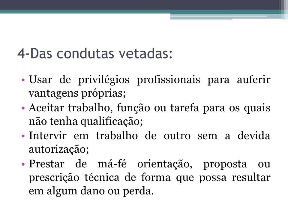 4-Das condutas vetadas: Usar de privilégios profissionais para auferir vantagens próprias; Aceitar trabalho, função ou tarefa para os quais não tenha