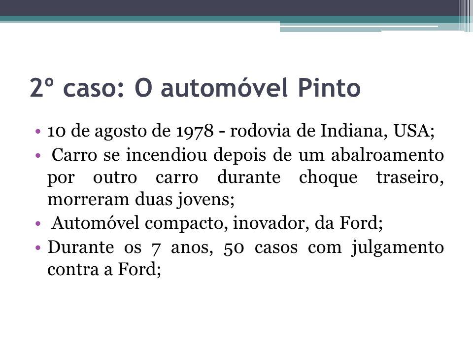 2º caso: O automóvel Pinto 10 de agosto de 1978 - rodovia de Indiana, USA; Carro se incendiou depois de um abalroamento por outro carro durante choque