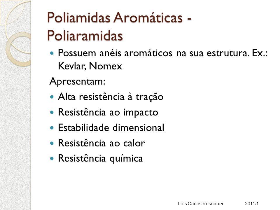 Poliamidas Aromáticas - Poliaramidas Possuem anéis aromáticos na sua estrutura.