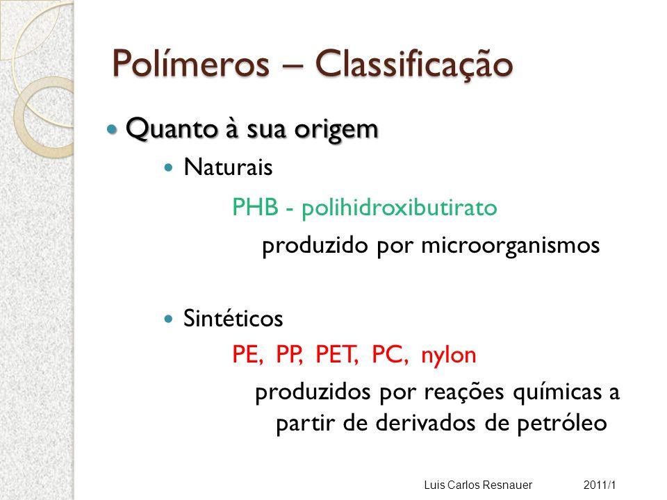 Polímeros – Classificação Quanto à sua origem Quanto à sua origem Naturais PHB - polihidroxibutirato produzido por microorganismos Sintéticos PE, PP, PET, PC, nylon produzidos por reações químicas a partir de derivados de petróleo Luis Carlos Resnauer 2011/1