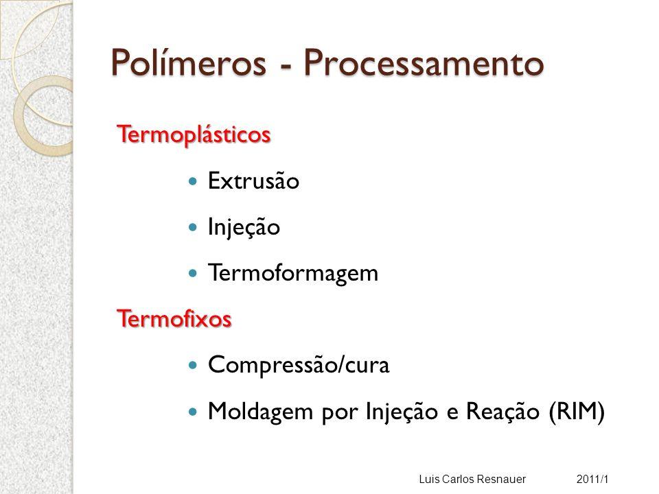 Polímeros - Processamento Termoplásticos Extrusão Injeção TermoformagemTermofixos Compressão/cura Moldagem por Injeção e Reação (RIM) Luis Carlos Resnauer 2011/1