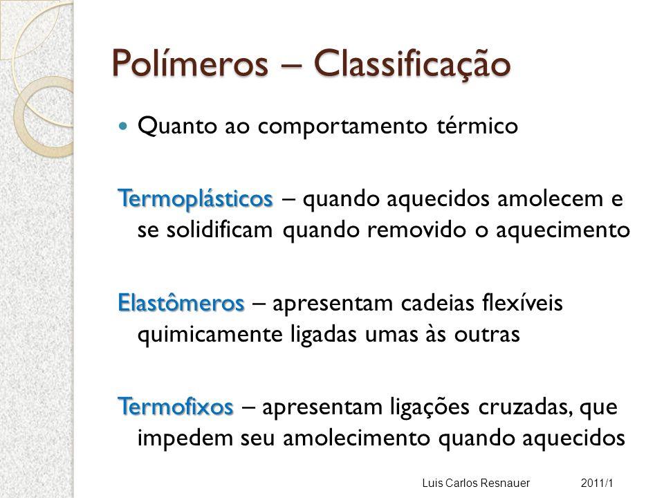Polímeros – Estrutura molecular Fatores que afetam a cristalinidade Fatores estruturais – estrutura química Linearidade da cadeia Grupos laterais Polaridade Fatores externos Impurezas ou aditivos Segunda fase Luis Carlos Resnauer 2011/1