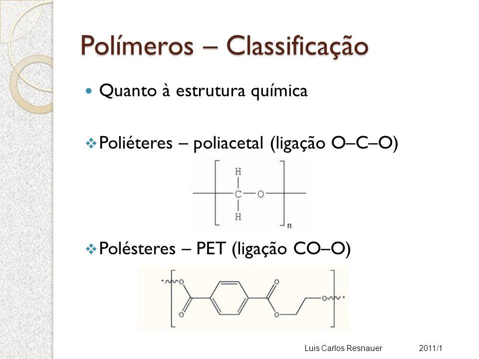 Polímeros – Classificação Quanto à estrutura química Poliéteres – poliacetal (ligação O–C–O) Polésteres – PET (ligação CO–O) Luis Carlos Resnauer 2011/1