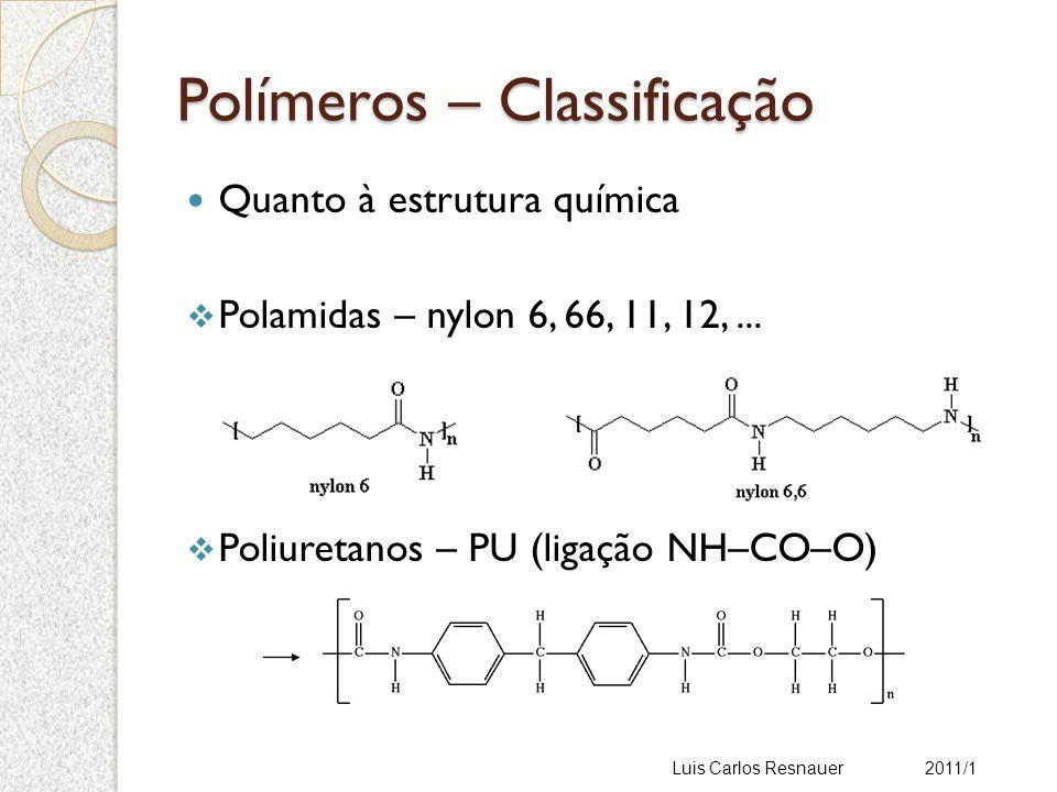 Comportamento Mecânico Polímero Estrutura molecular Comportamento viscoso (como líquidos) Comportamento elástico (como sólidos) Luis Carlos Resnauer 2011/1 Viscoelasticidade É o fenômeno pelo qual o polímero apresenta características de um fluido e de um sólido ao mesmo tempo