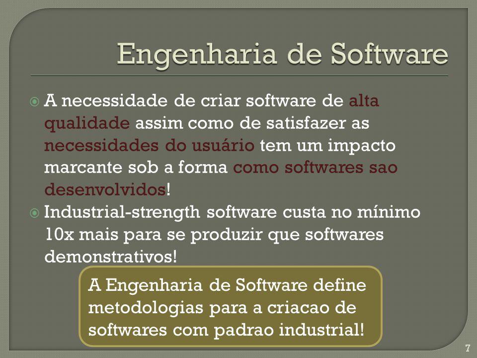 A necessidade de criar software de alta qualidade assim como de satisfazer as necessidades do usuário tem um impacto marcante sob a forma como softwares sao desenvolvidos.