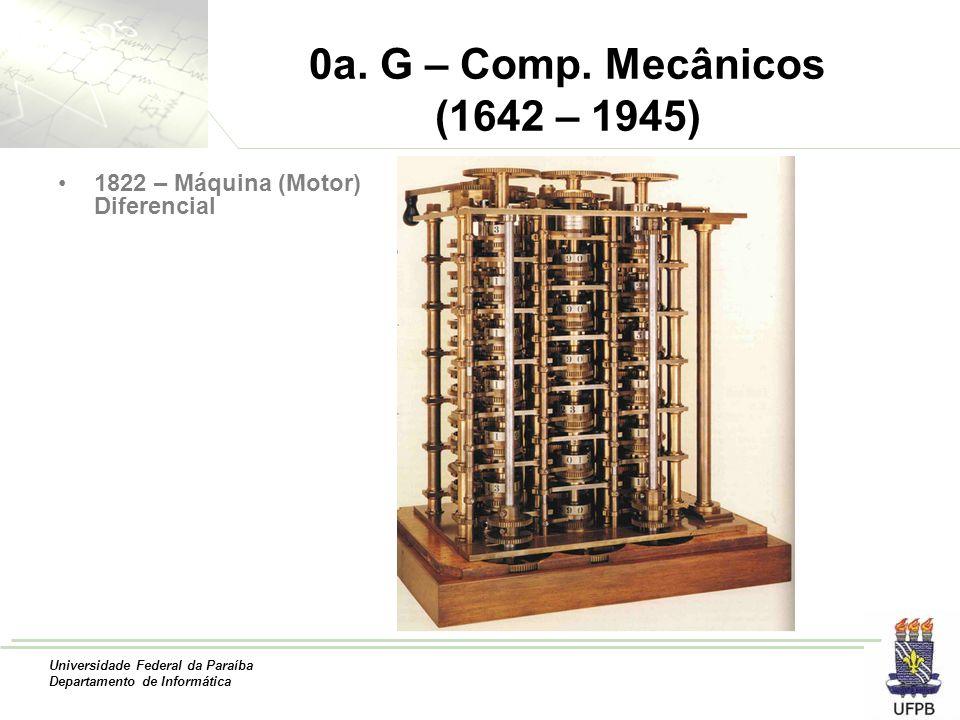Universidade Federal da Paraíba Departamento de Informática 0a. G – Comp. Mecânicos (1642 – 1945) 1822 – Máquina (Motor) Diferencial