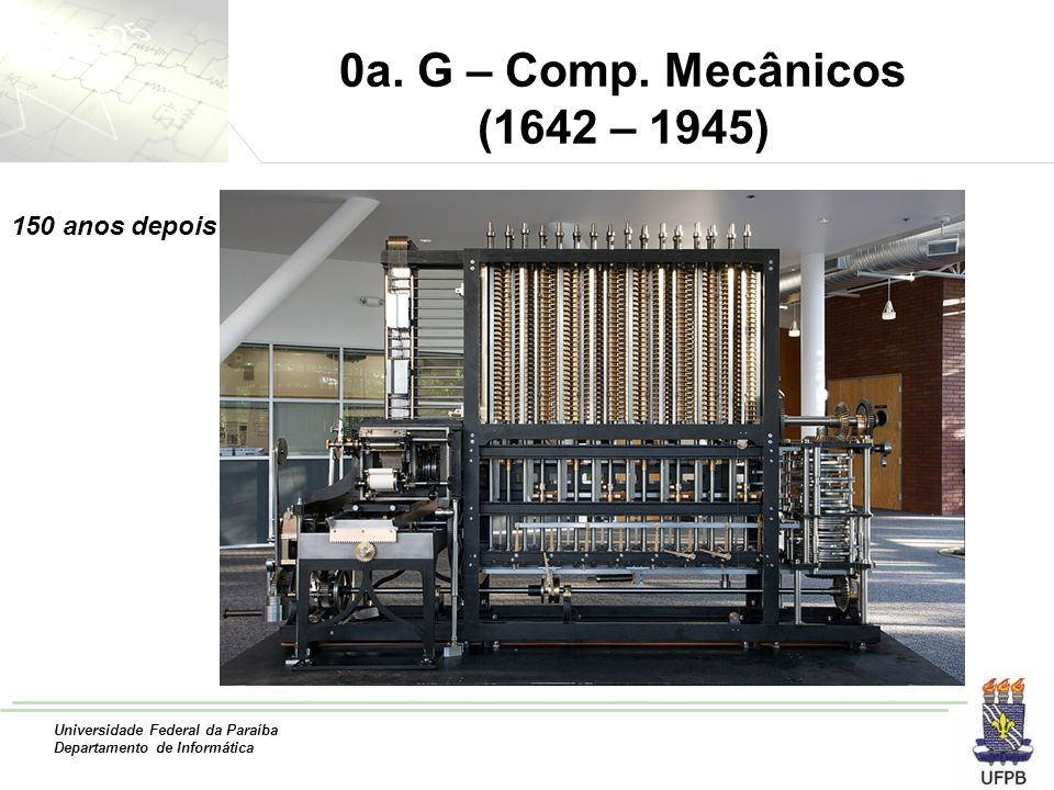 Universidade Federal da Paraíba Departamento de Informática 0a. G – Comp. Mecânicos (1642 – 1945) 150 anos depois