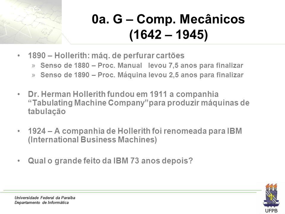 Universidade Federal da Paraíba Departamento de Informática 0a. G – Comp. Mecânicos (1642 – 1945) 1890 – Hollerith: máq. de perfurar cartões »Senso de