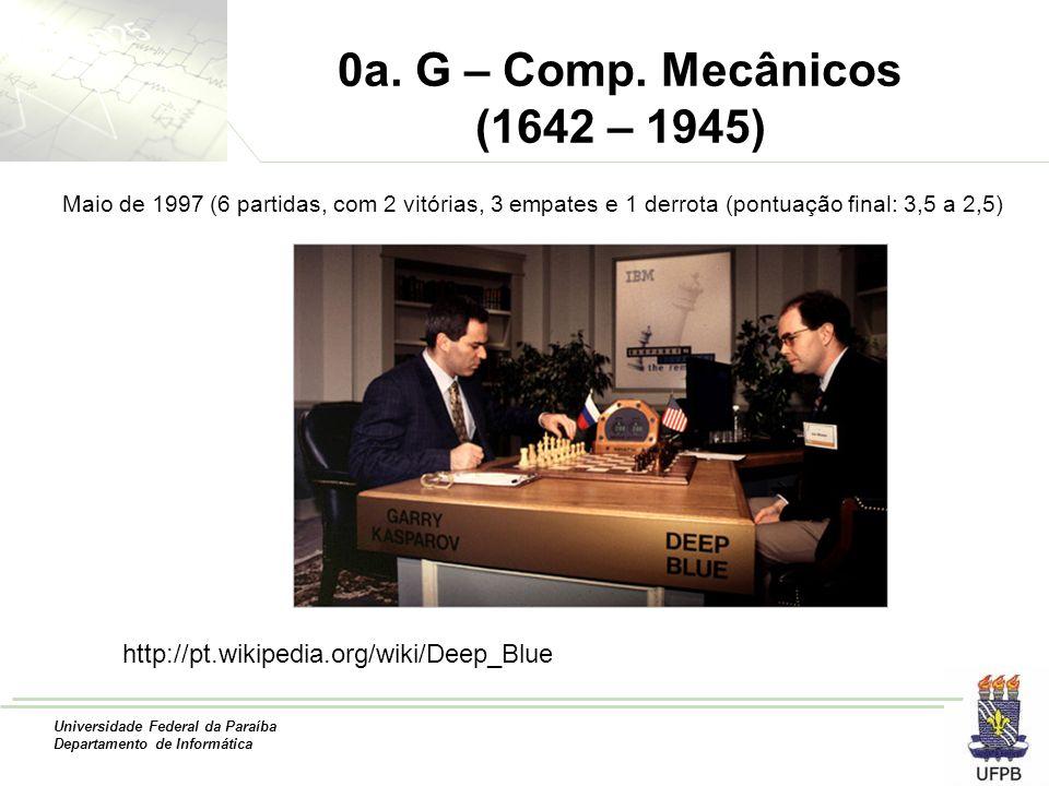 Universidade Federal da Paraíba Departamento de Informática 0a. G – Comp. Mecânicos (1642 – 1945) http://pt.wikipedia.org/wiki/Deep_Blue Maio de 1997