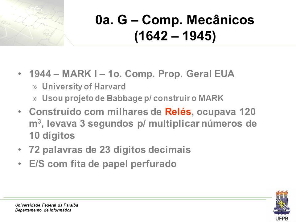 Universidade Federal da Paraíba Departamento de Informática 0a. G – Comp. Mecânicos (1642 – 1945) 1944 – MARK I – 1o. Comp. Prop. Geral EUA »Universit