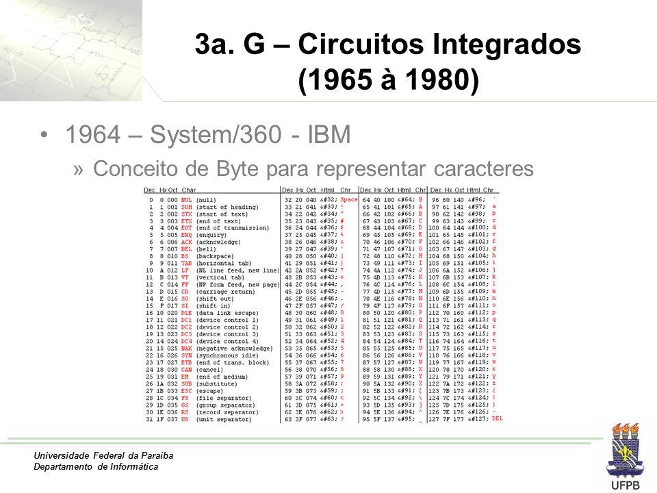 Universidade Federal da Paraíba Departamento de Informática 3a. G – Circuitos Integrados (1965 à 1980) 1964 – System/360 - IBM »Conceito de Byte para