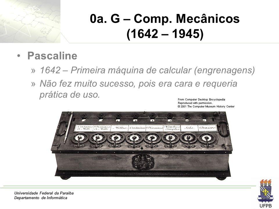 Universidade Federal da Paraíba Departamento de Informática 0a. G – Comp. Mecânicos (1642 – 1945) Pascaline »1642 – Primeira máquina de calcular (engr