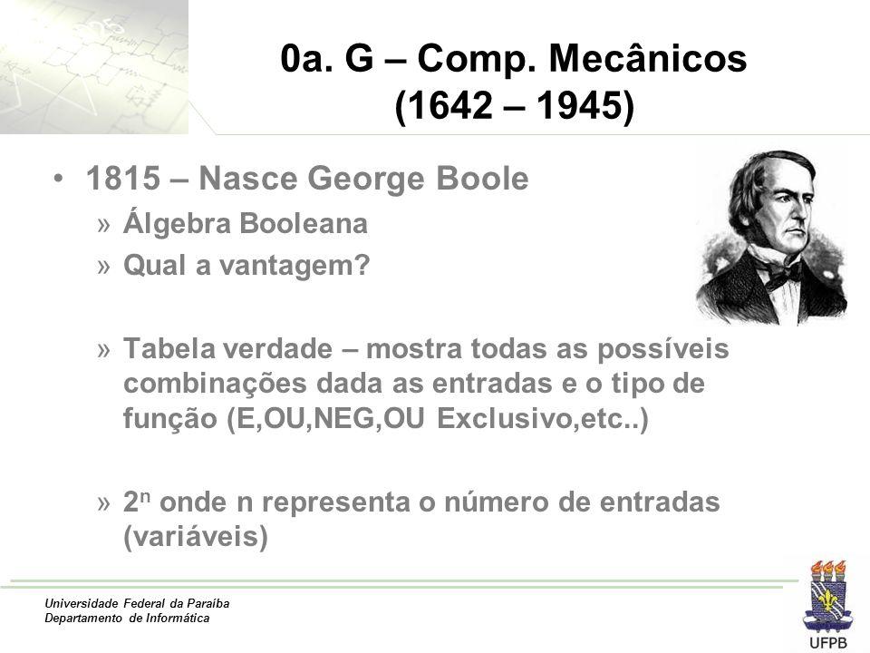 Universidade Federal da Paraíba Departamento de Informática 0a. G – Comp. Mecânicos (1642 – 1945) 1815 – Nasce George Boole »Álgebra Booleana »Qual a